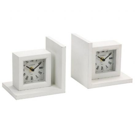 White Clock Shelf Bookends